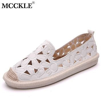 MCCKLE Women Flat Shoes Cuts Out Flower Loafers Moccasin For Female Espadrilles Platform Summer Casual Fisherman Shoe Footwear