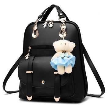 Women Fashion Backpack Summer Students Mochila Chic Teenager Girls Casual School Bags Small Bagpack Travel Bag Fur Bear Doll