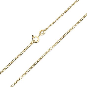 Figaro Chain 40 Gauge Necklace 14K Gold Plated 925 Sterling Silver