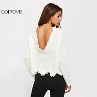 Scallop Raw Edge Sweater White Pullover Sexy Low Back Women Jumper Fall Fashion Spring Long Sleeve Loose Sweater