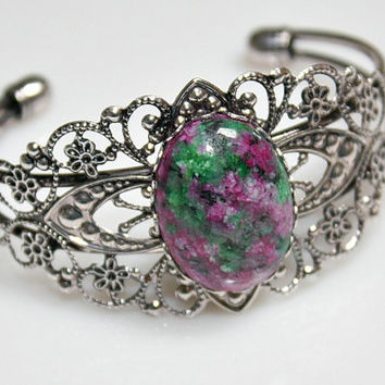Ruby In Fuschite Bracelet - Silverplated Filigree Bangle - Victorian Style - Oval Cabochon - Medallion - Unique Gift - Green/ Pink Stone