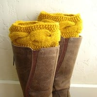Mustard Legwarmers, Knit Boot cuffs, Boot toppers, cable knit boot cuffs
