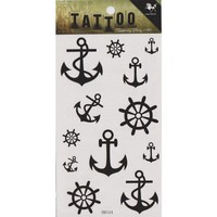 "MagicPieces Temporary Tattoo Fake Tattoo Waterproof Non-toxic Tattoo Sticker with Black Anchor and Helm Pattern Size 3.06""X5.13"" HM544"