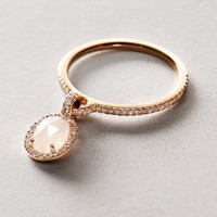 Moonstone and Diamond Pendant Ring in 14k Rose Gold by Liven Co. Rose Gold 6. Rings