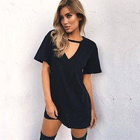 Women Tshirt Dress 2018 Choker V-neck Summer Dresses Short Sleeve Casual Sexy Halter Loose Boho Beach Dress Vestidos Plus Size