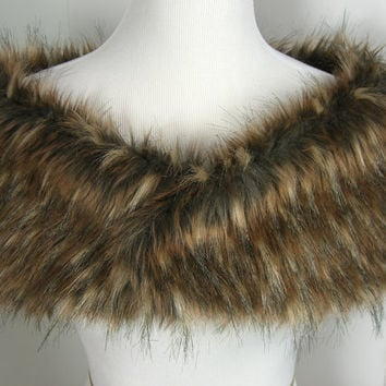 Faux Fur Shrug, Wedding Stole, Spotted Wolf Fur Wrap, Wedding Fur Shrug, Fur Stole