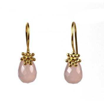 Rosy Sun Drop Earring with Chalecedony Gem