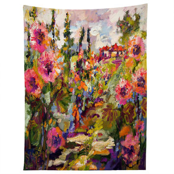 Ginette Fine Art Garden Path Hollyhock Tapestry