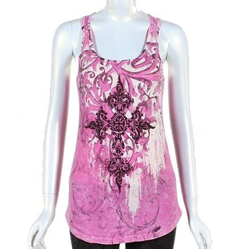 Vocal Apparel sold @ Bling & Buttons Women's Med Racerback Tank Top-Rhinestone Crystal Bling Cross-Pink Mineral Washed