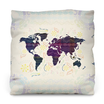 Bohemian Map Outdoor Throw Pillow