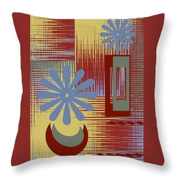 """Floral Still Life In Red Throw Pillow for Sale by Ben and Raisa Gertsberg - 16"""" x 16"""""""