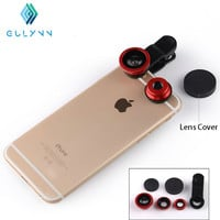 GULYNN Fish eye universal 3 in 1 mobile phone chip lenses fisheye wide angle macro camera for iphone 6s 7 7plus samsung S6 S5 S4