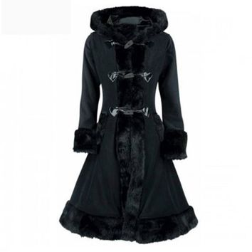 Coat Black Flocking Winter Overcoat Hooded Slim Goth Trench Coats
