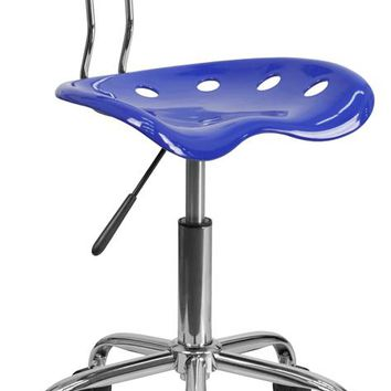 Vibrant Nautical Blue and Chrome Swivel Task Office Chair with Tractor Seat [LF-214-NAUTICALBLUE-GG]