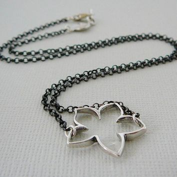 Sterling Silver Necklace, Lotus Flower Charm Pendant, Antiqued, 16 inch, Oxidized Patina