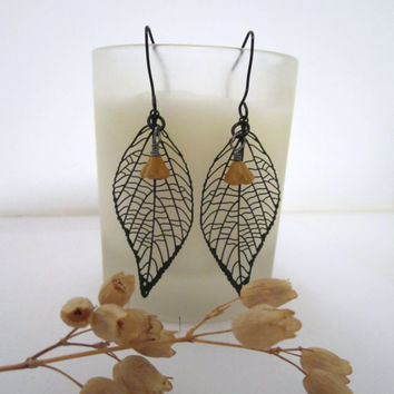 Leaf and Bell Flower Earrings by 636designs
