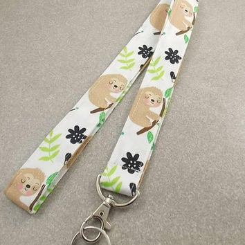Lanyard Sloth Lanyard Teacher Lanyard Sloths Animal Lanyard Nurse Lanyard Key Holder Key Lanyard ID Badge Holder Badge Lanyard