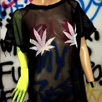 SWEET LORD O'MIGHTY! WEED TITS MESH DRESS IN BLACK