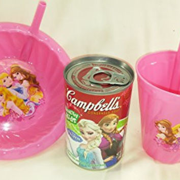 3 pcs Camppbell's Chicken Noodle Soup w/ Disney Frozen Label, Disney Princess Pink Straw Bowl and Cup Bundle