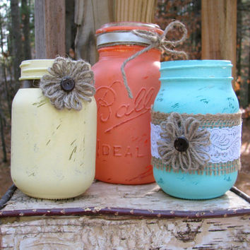 Rustic Mason Jars, Distressed Paint, Rustic Wedding Decor, Country Decor, Set of 3