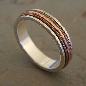 LIVEWIRE Spinner Silver & Copper Men's Wedding Band // Women's Wedding Band // handcrafted in quarter sizes for a custom fit // 5.3 mm