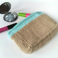Color Block Zipper Pouch - Makeup Pouch - Makeup Organizer - Color Block Makeup Bag - Cosmetic Organizer - Knit Purse with Lining - Knit Bag