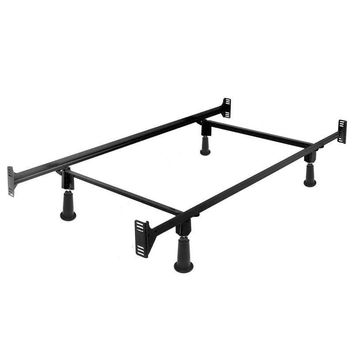 Twin Size High Rise Metal Bed Frame With Headboard & Footboard Brackets
