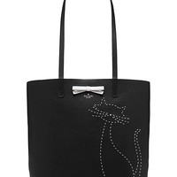 on purpose embroidered leather cat tote