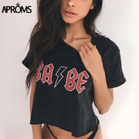 Aproms Summer Crop Top Women 2017 Casual BABE Letter Print Female T-shirt 90s Rock Cool Black Cropped Tops Tee Shirt Femme 21299