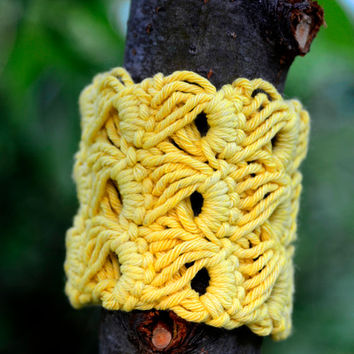 Crocheted Bracelet, Sunflower Yellow Broomstick Lace Cuff
