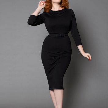 Laura Byrnes California Joanie Dress in Black Ponte de Roma Knit