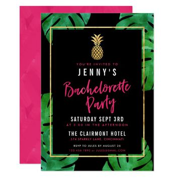 Tropical Bachelorette Party / Gold Pineapple Card
