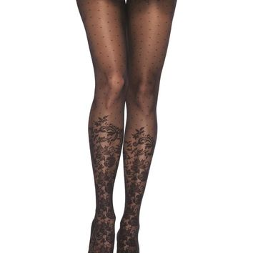 Leg Avenue Female Dotted Sheer Pantyhose With Knee High Floral Accent 7901