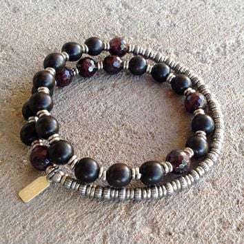 Strength and Love, Ebony and Garnet 27 Beads Unisex Mala Bracelet
