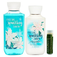 Bath & Body Works Fresh Sparkling Snow 8 oz. Body Lotion & 10 oz. Shower Gel Gift Set With A Jarosa Bee Organic Natural Peppermint Lip Balm