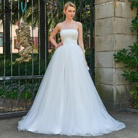 Dressv elegant long wedding dress strapless chapl train zipper up bridal gowns outdoor&church ball gown wedding dresses