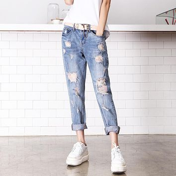 American Apparel Sale Cotton Mid Plaid Women Jeans 2016 New Cowboy Nine Pants Baggy Jeans Casual Fashion Taobao One Generation