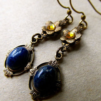 Lapis Earrings Art Nouveau Earrings Art Deco Earrings Gemstone Earrings Blue Earrings Yellow Crystal Earring Blue Dangle Earrings- Cleopatra