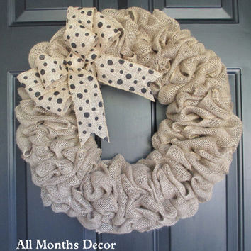 Natural Burlap Wreath with Polka Dot Bow, Country, Spring Easter Fall Winter, Year Round, Fall, Porch Door Decor