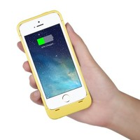 [Apple-Certified] EasyAcc® MFi 2200mAh Colorful iPhone 5 5s 5c Battery Charging Case,Rechargeable Extended Protective Battery Case for iPhone 5 5s 5c,Original Lightning Charging Plug,Yellow [24-Month Warranty]
