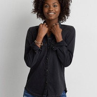 AEO Slim Black Denim Shirt , Black