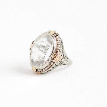 Antique Art Deco 10k White Gold Simulated Rock Crystal & Seed Pearl Ring - Size 6 3/4 Vintage 1920s Filigree White Glass Stone Fine Jewelry