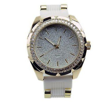 Jewelry Kay style Bling 14K Gold Plated White Silicone Band Techno Pave Men's Watches WR 7981 GWH