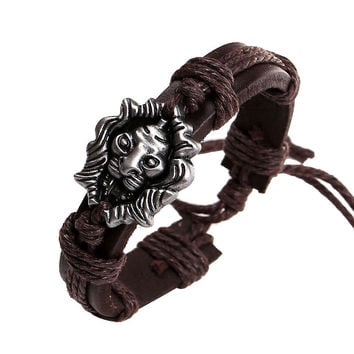 Men's Bracelet Jewelry H made Braided Lion Head Wrap Wrist Leather Cuff Bracelet SM6