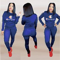 Champion Trending Women Slim Long Sleeve Top Pants Trousers Set Two-Piece Blue