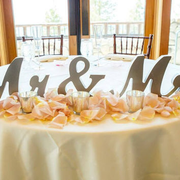 Mr and Mrs Wedding Signs for Wedding Sweetheart Table, Mr and Mrs Letters, Large Thick Mr & Mrs Sign Set (Item - MTS100)