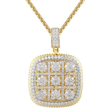 14k Gold Finish Solitaire Square Medallion Pendant Set