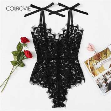 COLROVIE Black Sexy Eyelash Lace Teddy Bodysuit 2018 Summer New Sexy V Neck Bodysuit Women Skinny Girls Lace Bodysuit