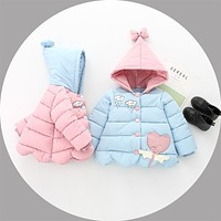 kids cotton padded jacket children's winter clothing cute thick clothes little girls Korean down cotton fashion hooded jacket
