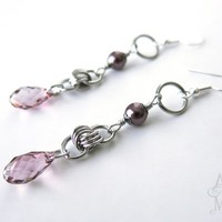 As Seen On The Vampire Diaries - Caroline's Pink Keepsake Crystal and Pearl Earrings